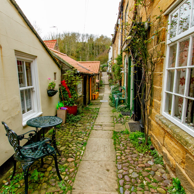"""""""Robin Hoods Bay, Yorkshire East Coast, England. Narrow Ginnel with Stone Cobbles."""" stock image"""