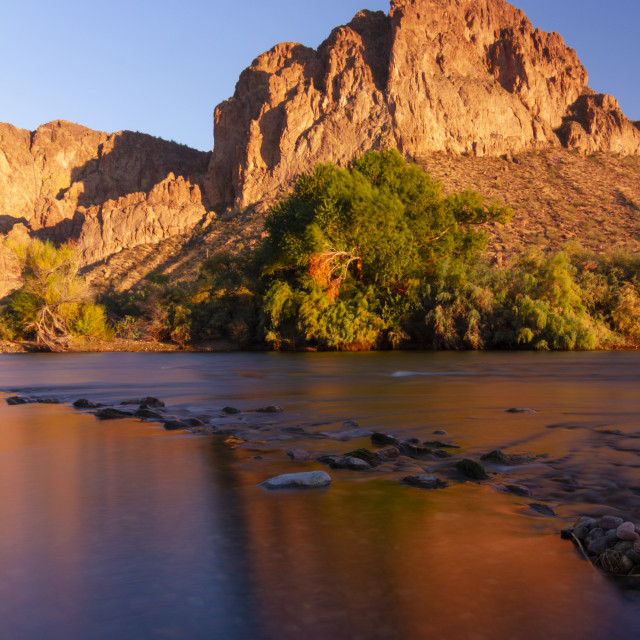 """""""Desert sunset reflection"""" stock image"""