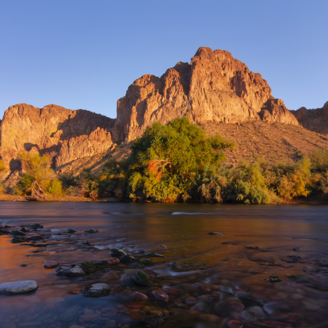 """""""Gentle rapids in the Salt River at sunset"""" stock image"""