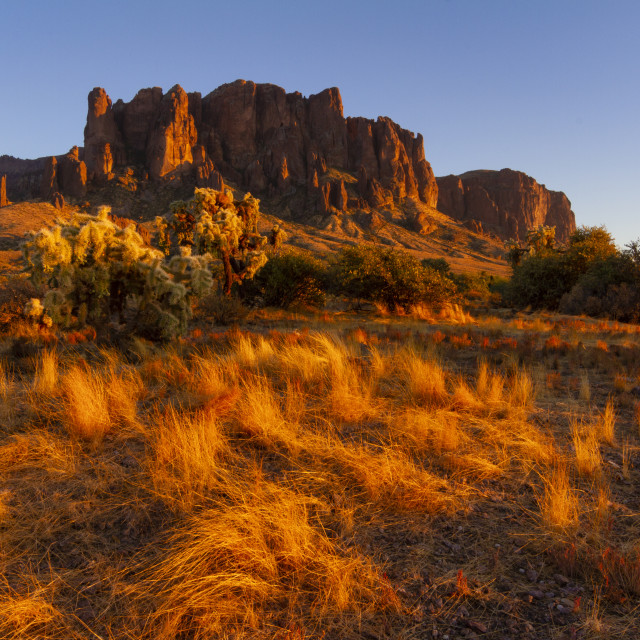 """""""Sunset at Lost Dutchman"""" stock image"""