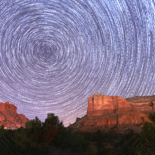 """""""Star trails over the red rocks of Sedona"""" stock image"""