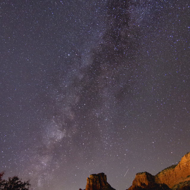 """""""Milky way over red rocks"""" stock image"""