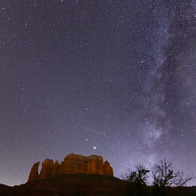 """""""Milky Way over Cathedral Rock in Sedona"""" stock image"""