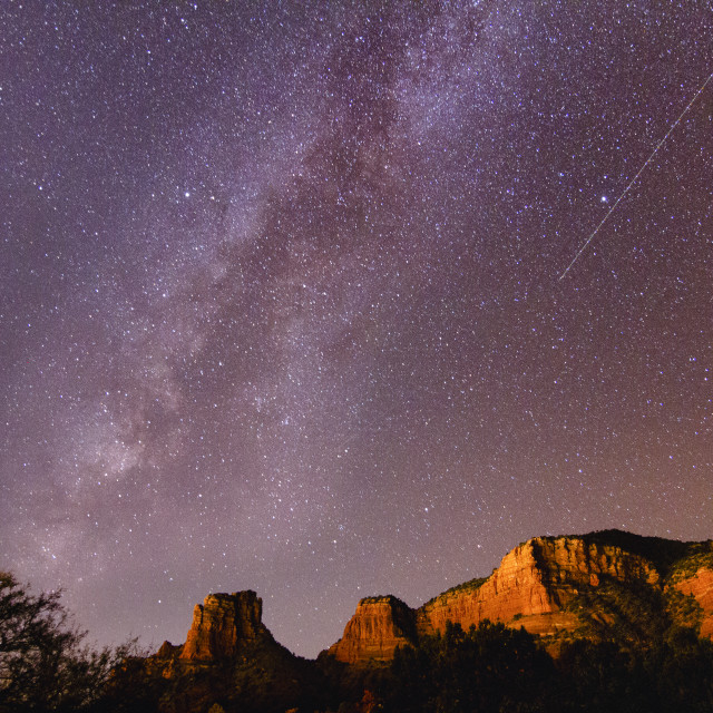 """Milky way over red rocks of Sedona"" stock image"