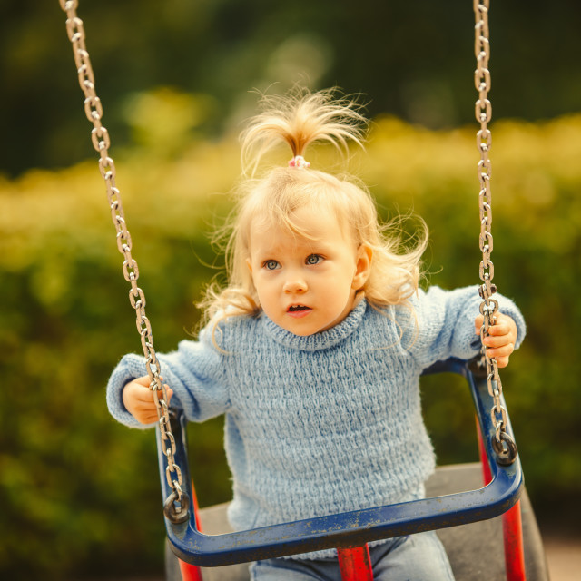 """""""blonde haired girl on the swing"""" stock image"""