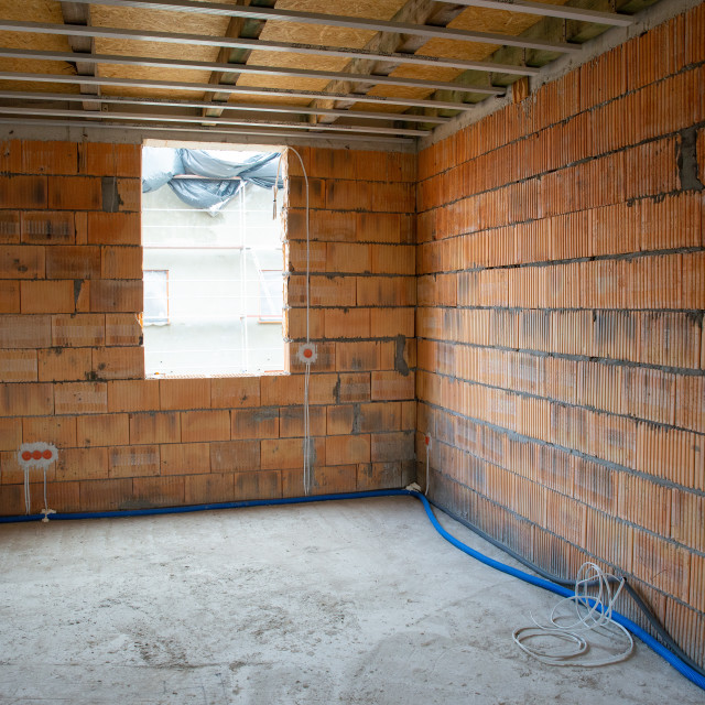 """""""building a house, unfinished interior"""" stock image"""