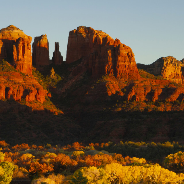 """""""Cathedral Rock at sunset in autumn"""" stock image"""