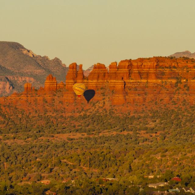 """""""Hot air balloons at sunrise"""" stock image"""