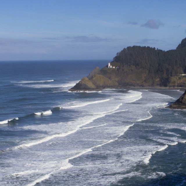 """Lighthouse on the coastline"" stock image"