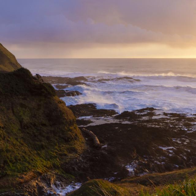 """""""Sunset along the Oregon coast"""" stock image"""