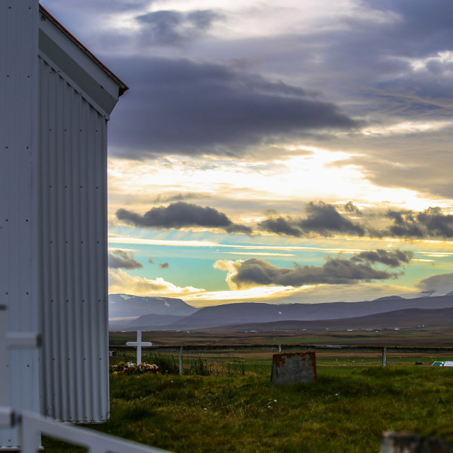 """""""Icelandic Church and Cemetery"""" stock image"""