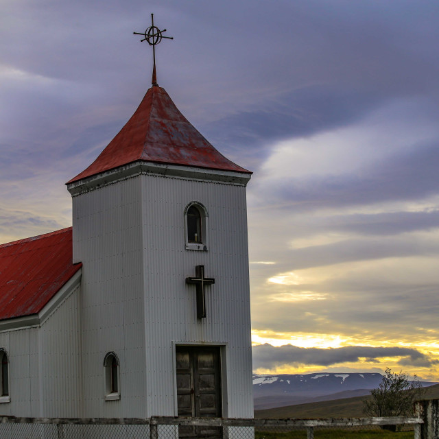 """""""Traditional Icelandic Church surrounded by Beautiful Sky"""" stock image"""