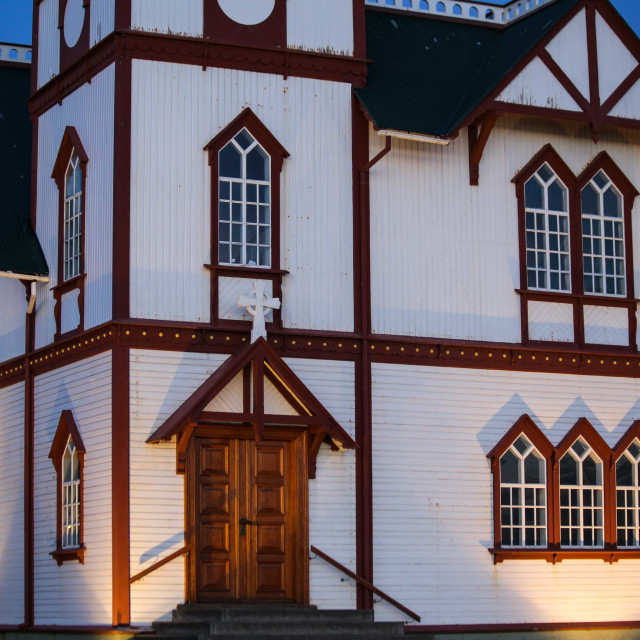"""Husavik Church, Iceland in the evening"" stock image"