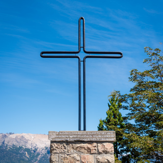"""Cross at top of mountain in Bariloche, Patagonia, Argentina"" stock image"