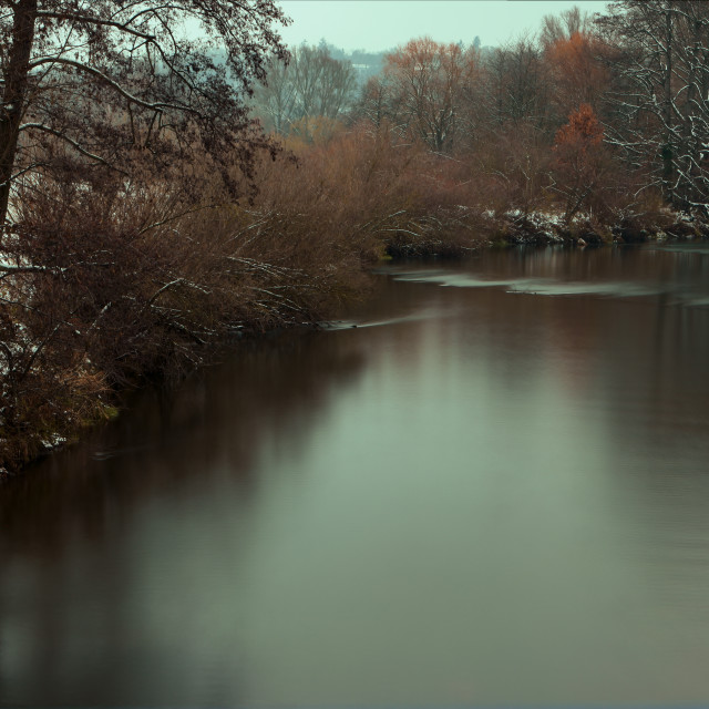 """""""Snow near the river"""" stock image"""