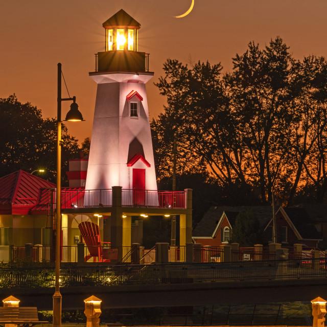 """Port Credit Lighthouse after sunset"" stock image"