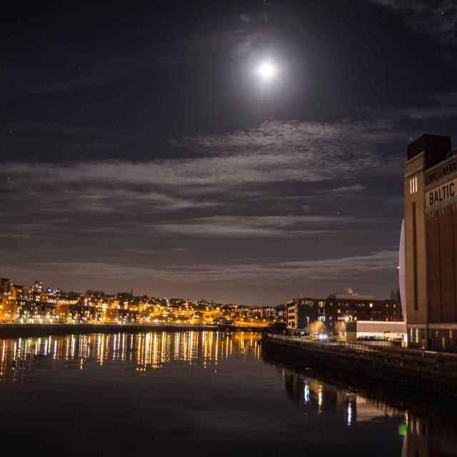 """Moon over the Tyne"" stock image"