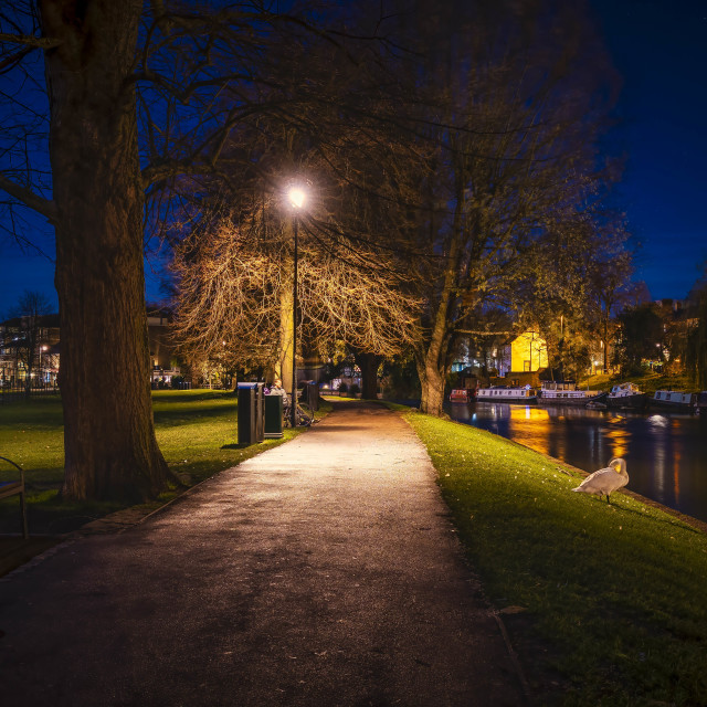 """Jesus Green by night, Cambridge UK."" stock image"