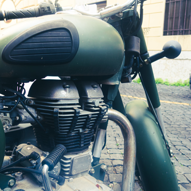 """""""Retro military motorcycle vehicle old fashioned detail"""" stock image"""