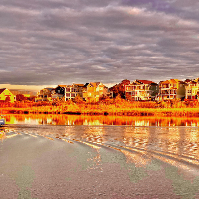 """Intercoastal waterway Oak Island NC"" stock image"