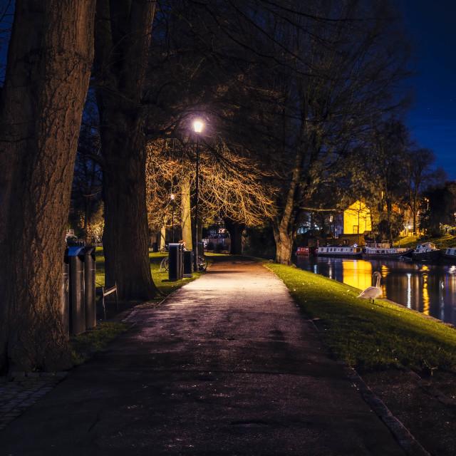 """Jesus Green Footpath by night, Cambridge UK."" stock image"