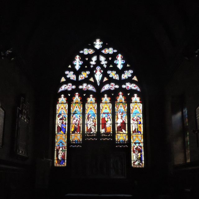 """""""Stained Glass Window at All Saints Church Sudbury"""" stock image"""