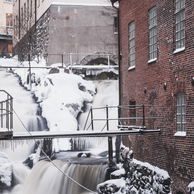 """Waterfall at Mölndals Kvarnby"" stock image"