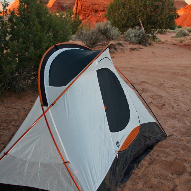 """""""Camping, Paw Hole,Arizona"""" stock image"""