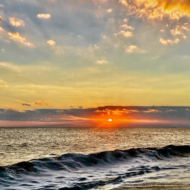 """Oak island sunset"" stock image"