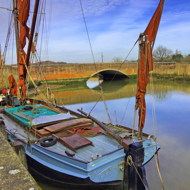 """""""Wherry on the river at Snape Suffolk"""" stock image"""