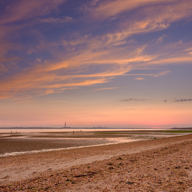 """""""Sunset over the sands of Solent"""" stock image"""
