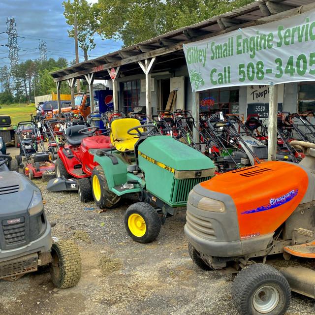 """""""Lawnmower repair shop"""" stock image"""