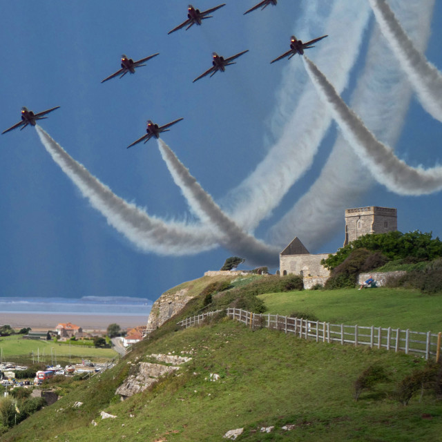 """""""Red Arrows over Weston Bay Somerset"""" stock image"""