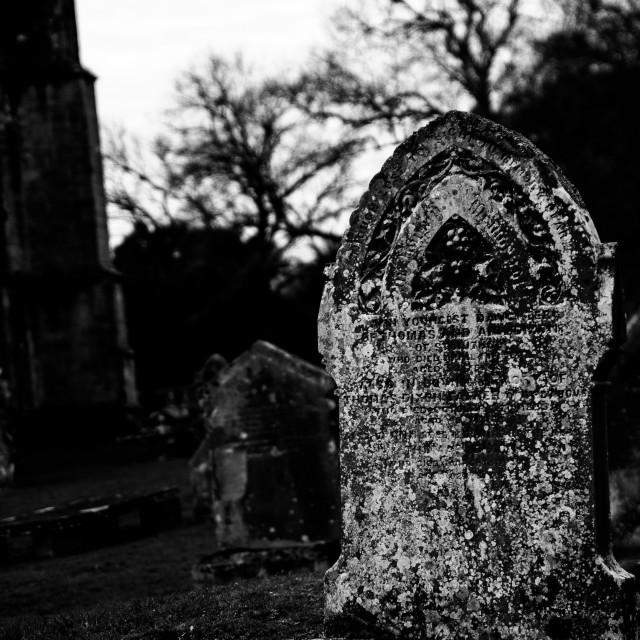 """Gravestone, Bolton Abbey"" stock image"