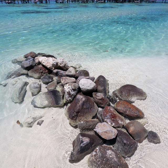 """Beach at Hilton Moorea"" stock image"