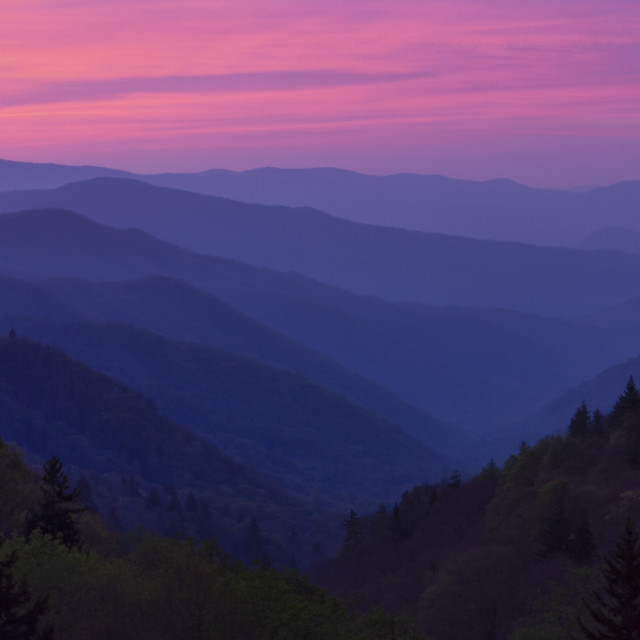 """""""Sunrise in the Smoky Mountains"""" stock image"""