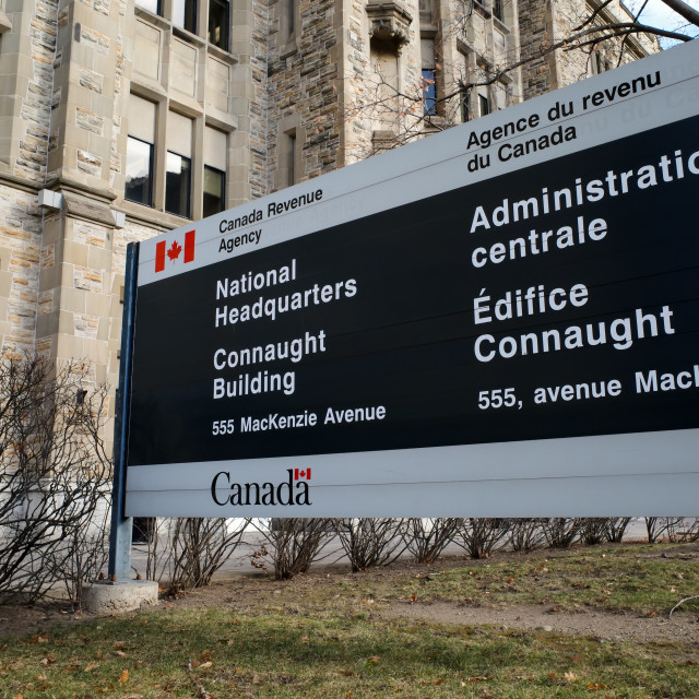 """""""Canada Revenue Agency National Headquarters Sign"""" stock image"""