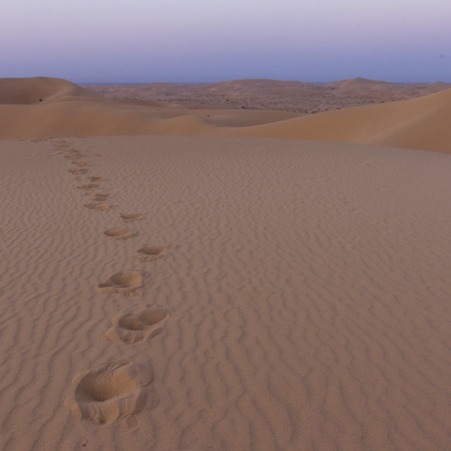 """Footprints in the desert"" stock image"