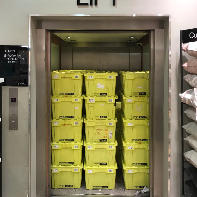"""""""Lift (elevator) completely full of boxes"""" stock image"""