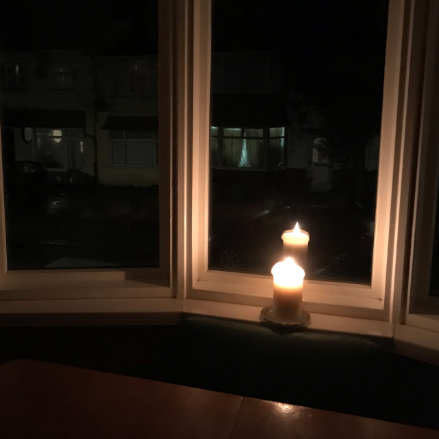 """""""Candle in window"""" stock image"""