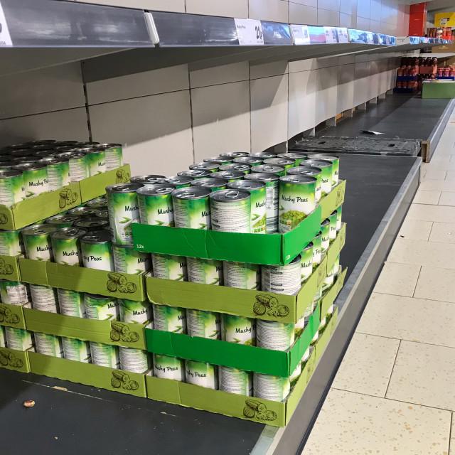 """Empty supermarket shelves"" stock image"