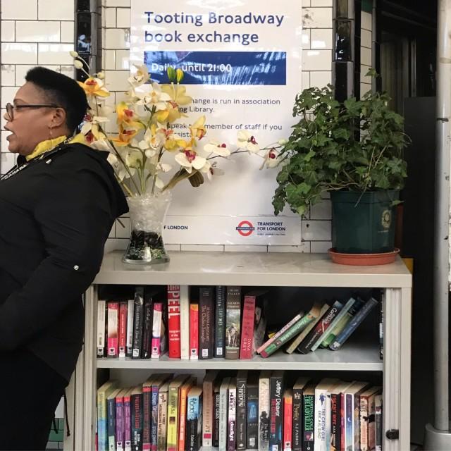 """Tooting Broadway book exchange"" stock image"