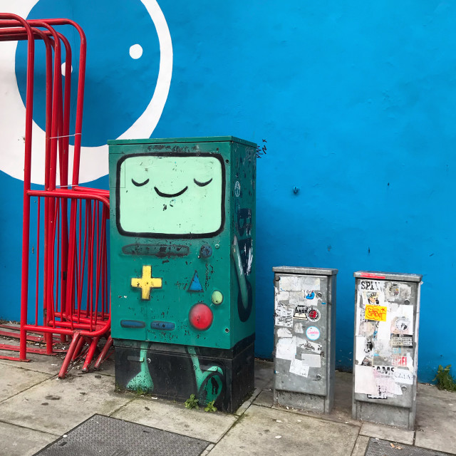 """""""Street furniture as games console"""" stock image"""