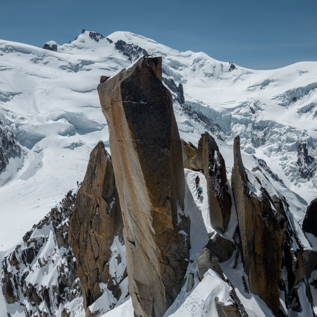 """Alpinists on the Cosmiques Ridge"" stock image"