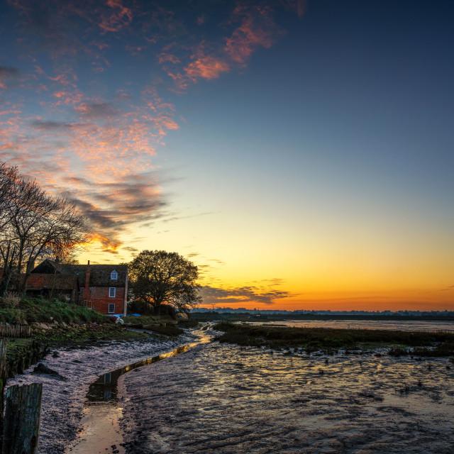 """Sunset at Landermere Quay 3"" stock image"