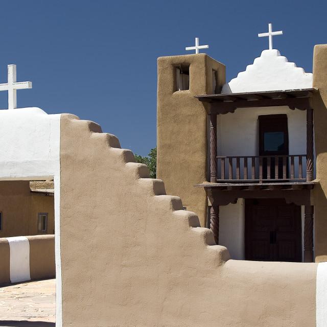 """Taos Pueblo church"" stock image"