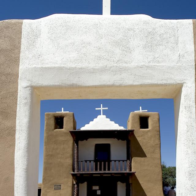 """Taos Pueblo church 2"" stock image"