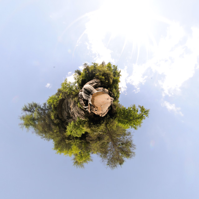 """""""Waterfall in forest (little planet)"""" stock image"""