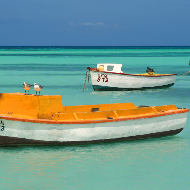 """Boats, Aruba"" stock image"
