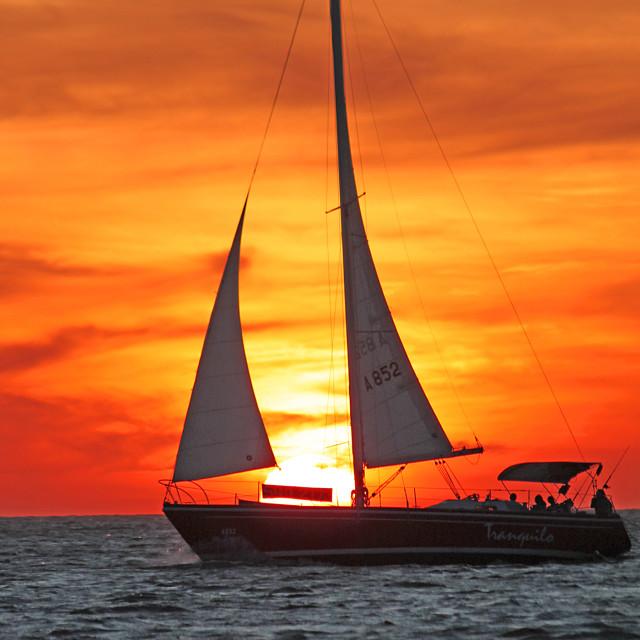 """Sailboat at sunset 2"" stock image"